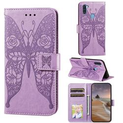 Intricate Embossing Rose Flower Butterfly Leather Wallet Case for Samsung Galaxy A11 - Purple