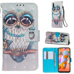 Sweet Gray Owl 3D Painted Leather Wallet Case for Samsung Galaxy A11