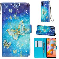Gold Butterfly 3D Painted Leather Wallet Case for Samsung Galaxy A11
