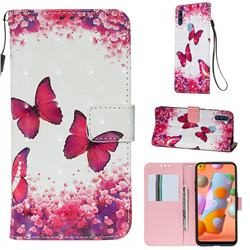 Rose Butterfly 3D Painted Leather Wallet Case for Samsung Galaxy A11