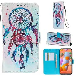 ColorDrops Wind Chimes 3D Painted Leather Wallet Case for Samsung Galaxy A11