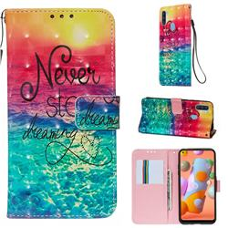 Colorful Dream Catcher 3D Painted Leather Wallet Case for Samsung Galaxy A11
