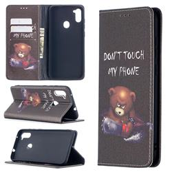 Chainsaw Bear Slim Magnetic Attraction Wallet Flip Cover for Samsung Galaxy A11