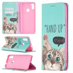 Hand Up Cat Slim Magnetic Attraction Wallet Flip Cover for Samsung Galaxy A11
