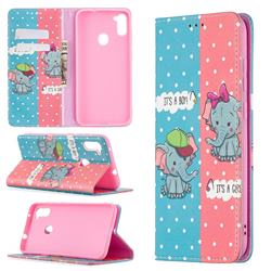 Elephant Boy and Girl Slim Magnetic Attraction Wallet Flip Cover for Samsung Galaxy A11