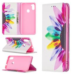 Sun Flower Slim Magnetic Attraction Wallet Flip Cover for Samsung Galaxy A11