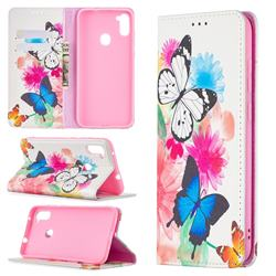 Flying Butterflies Slim Magnetic Attraction Wallet Flip Cover for Samsung Galaxy A11