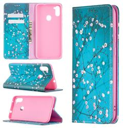 Plum Blossom Slim Magnetic Attraction Wallet Flip Cover for Samsung Galaxy A11
