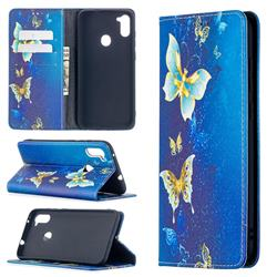 Gold Butterfly Slim Magnetic Attraction Wallet Flip Cover for Samsung Galaxy A11