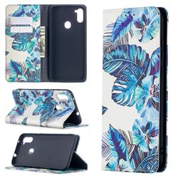 Blue Leaf Slim Magnetic Attraction Wallet Flip Cover for Samsung Galaxy A11