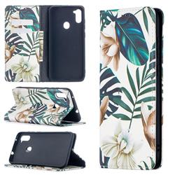 Flower Leaf Slim Magnetic Attraction Wallet Flip Cover for Samsung Galaxy A11