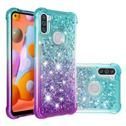 Rainbow Gradient Liquid Glitter Quicksand Sequins Phone Case for Samsung Galaxy A11 - Blue Purple