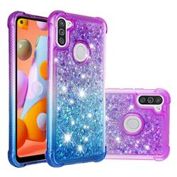 Rainbow Gradient Liquid Glitter Quicksand Sequins Phone Case for Samsung Galaxy A11 - Purple Blue
