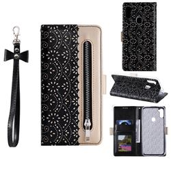 Luxury Lace Zipper Stitching Leather Phone Wallet Case for Samsung Galaxy A11 - Black
