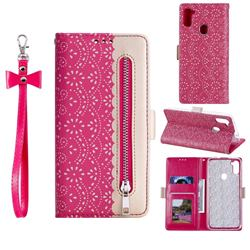 Luxury Lace Zipper Stitching Leather Phone Wallet Case for Samsung Galaxy A11 - Rose