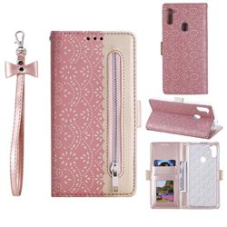 Luxury Lace Zipper Stitching Leather Phone Wallet Case for Samsung Galaxy A11 - Pink