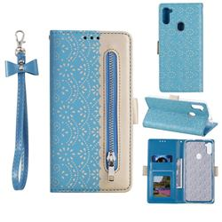 Luxury Lace Zipper Stitching Leather Phone Wallet Case for Samsung Galaxy A11 - Blue