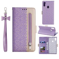 Luxury Lace Zipper Stitching Leather Phone Wallet Case for Samsung Galaxy A11 - Purple