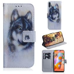 Snow Wolf PU Leather Wallet Case for Samsung Galaxy A11