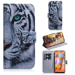 White Tiger PU Leather Wallet Case for Samsung Galaxy A11