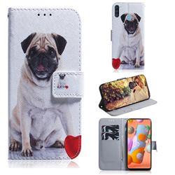Pug Dog PU Leather Wallet Case for Samsung Galaxy A11
