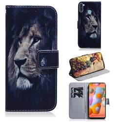 Lion Face PU Leather Wallet Case for Samsung Galaxy A11