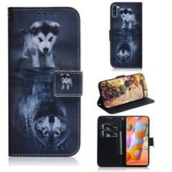 Wolf and Dog PU Leather Wallet Case for Samsung Galaxy A11