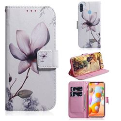 Magnolia Flower PU Leather Wallet Case for Samsung Galaxy A11