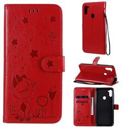 Embossing Bee and Cat Leather Wallet Case for Samsung Galaxy A11 - Red