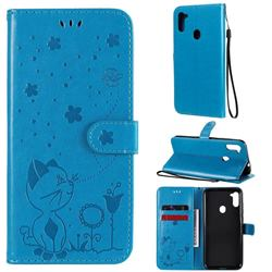 Embossing Bee and Cat Leather Wallet Case for Samsung Galaxy A11 - Blue