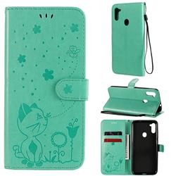 Embossing Bee and Cat Leather Wallet Case for Samsung Galaxy A11 - Green