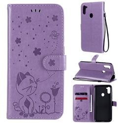 Embossing Bee and Cat Leather Wallet Case for Samsung Galaxy A11 - Purple
