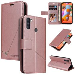 GQ.UTROBE Right Angle Silver Pendant Leather Wallet Phone Case for Samsung Galaxy A11 - Rose Gold