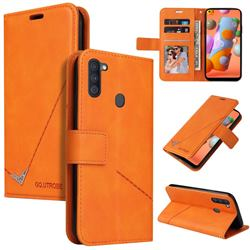 GQ.UTROBE Right Angle Silver Pendant Leather Wallet Phone Case for Samsung Galaxy A11 - Orange