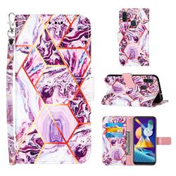 Dream Purple Stitching Color Marble Leather Wallet Case for Samsung Galaxy A11