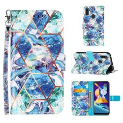 Green and Blue Stitching Color Marble Leather Wallet Case for Samsung Galaxy A11