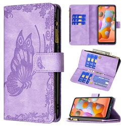Binfen Color Imprint Vivid Butterfly Buckle Zipper Multi-function Leather Phone Wallet for Samsung Galaxy A11 - Purple
