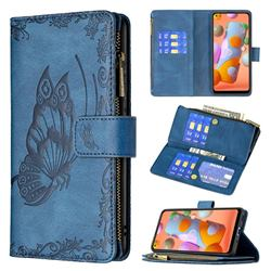 Binfen Color Imprint Vivid Butterfly Buckle Zipper Multi-function Leather Phone Wallet for Samsung Galaxy A11 - Blue