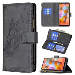 Binfen Color Imprint Vivid Butterfly Buckle Zipper Multi-function Leather Phone Wallet for Samsung Galaxy A11 - Black