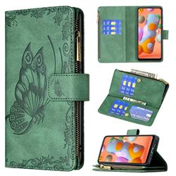 Binfen Color Imprint Vivid Butterfly Buckle Zipper Multi-function Leather Phone Wallet for Samsung Galaxy A11 - Green