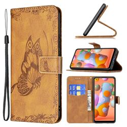 Binfen Color Imprint Vivid Butterfly Leather Wallet Case for Samsung Galaxy A11 - Brown