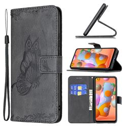 Binfen Color Imprint Vivid Butterfly Leather Wallet Case for Samsung Galaxy A11 - Black