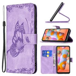 Binfen Color Imprint Vivid Butterfly Leather Wallet Case for Samsung Galaxy A11 - Purple
