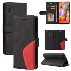 Luxury Two-color Stitching Leather Wallet Case Cover for Samsung Galaxy A11 - Black