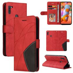Luxury Two-color Stitching Leather Wallet Case Cover for Samsung Galaxy A11 - Red