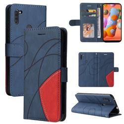 Luxury Two-color Stitching Leather Wallet Case Cover for Samsung Galaxy A11 - Blue