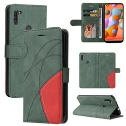 Luxury Two-color Stitching Leather Wallet Case Cover for Samsung Galaxy A11 - Green