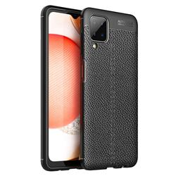 Luxury Auto Focus Litchi Texture Silicone TPU Back Cover for Samsung Galaxy A12 - Black