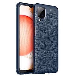 Luxury Auto Focus Litchi Texture Silicone TPU Back Cover for Samsung Galaxy A12 - Dark Blue