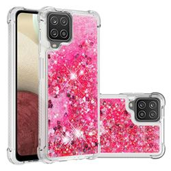 Dynamic Liquid Glitter Sand Quicksand TPU Case for Samsung Galaxy A12 - Pink Love Heart